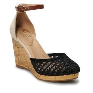Wedge heel ankle strap sandal with closed toe